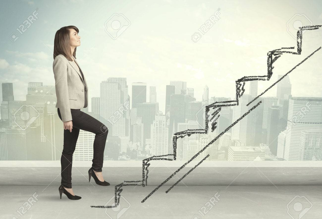 Business woman climbing up on hand drawn staircase concept on city background Stock Photo - 34713975