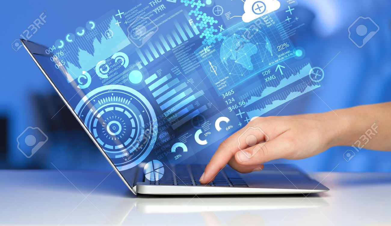 Modern notebook computer with future technology media symbols Stock Photo - 36638346