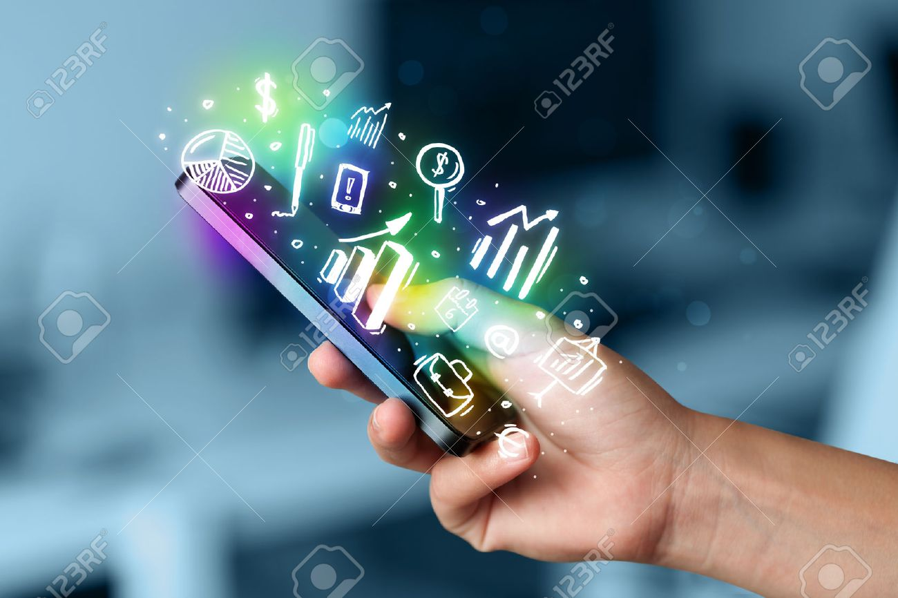 Smartphone with finance and market icons and symbols concept Stock Photo - 37023085