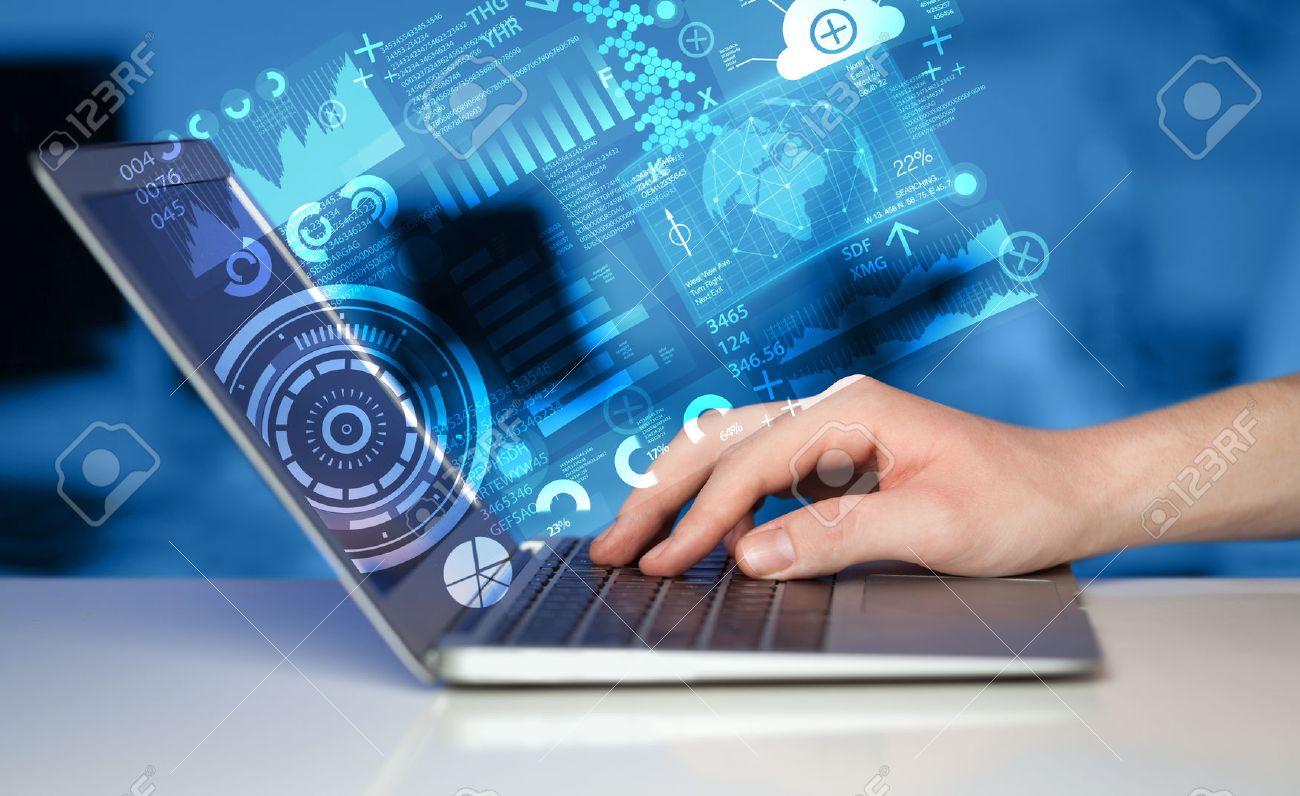 Modern notebook computer with future technology media symbols Stock Photo - 37023066