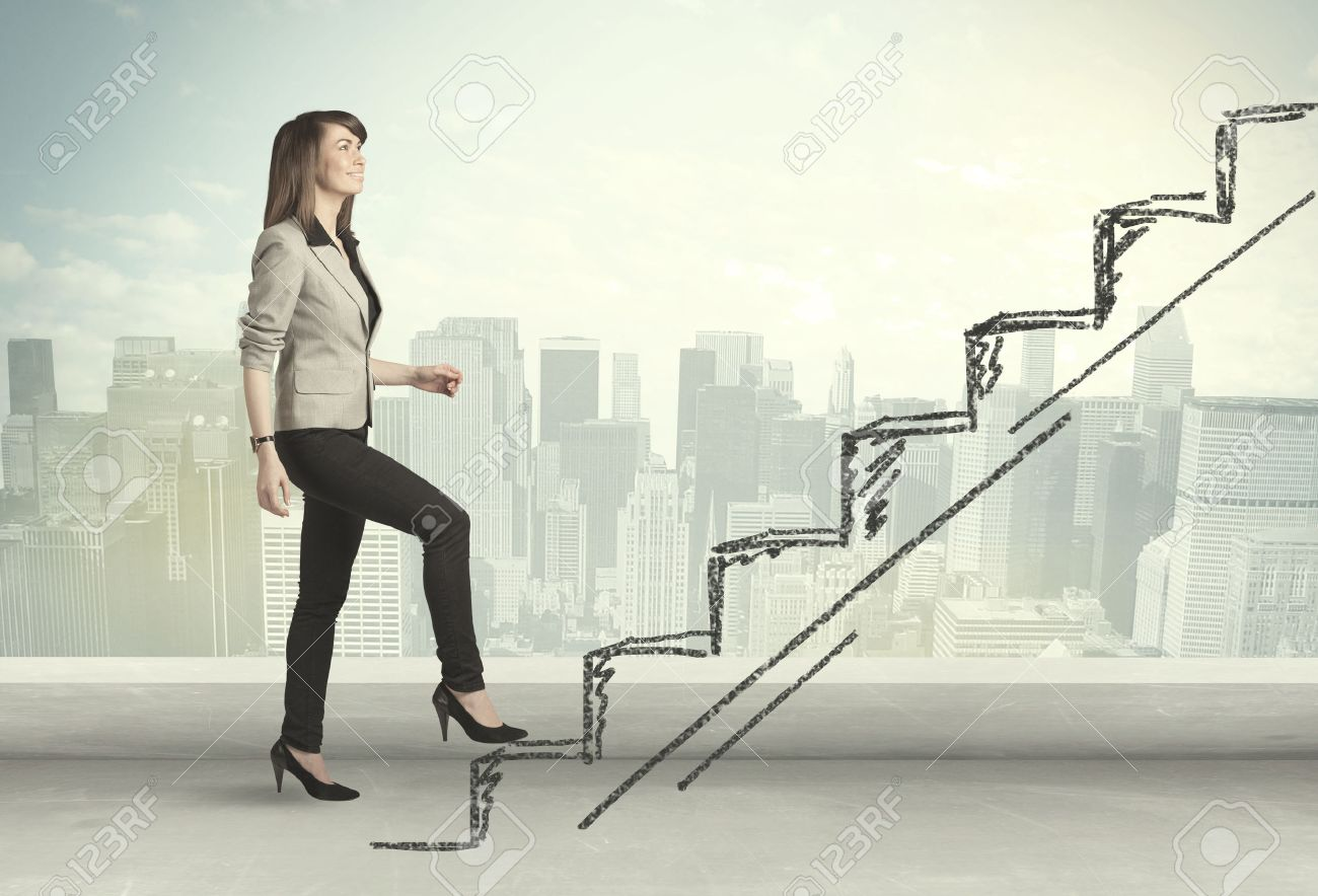 Business woman climbing up on hand drawn staircase concept on city background Stock Photo - 38002730