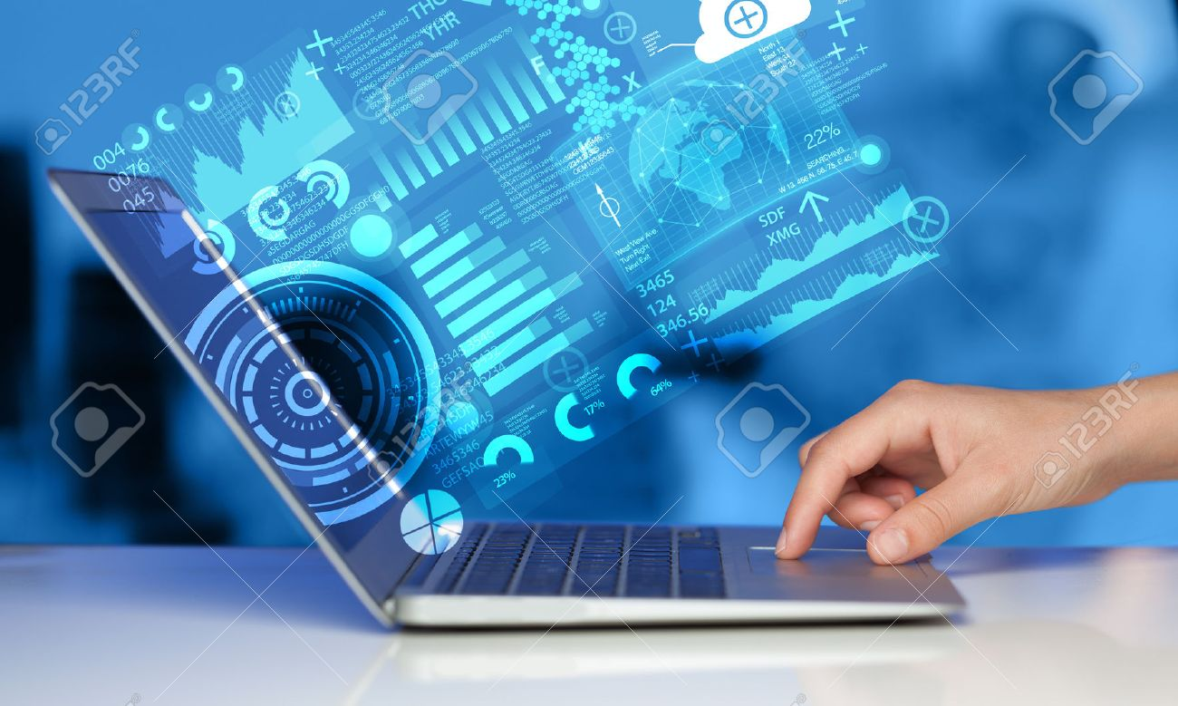 Modern notebook computer with future technology media symbols Stock Photo - 38145544