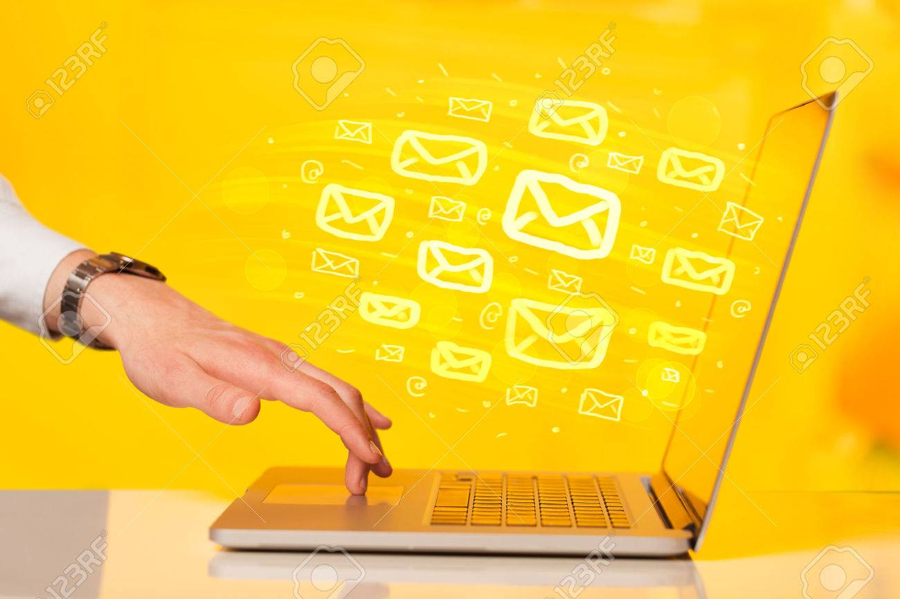 Concept of sending e-mails from your computer Stock Photo - 38237776