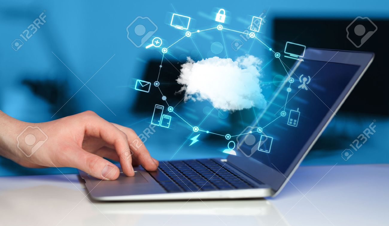 Hand working with a Cloud Computing diagram, new technology concept Stock Photo - 38491176