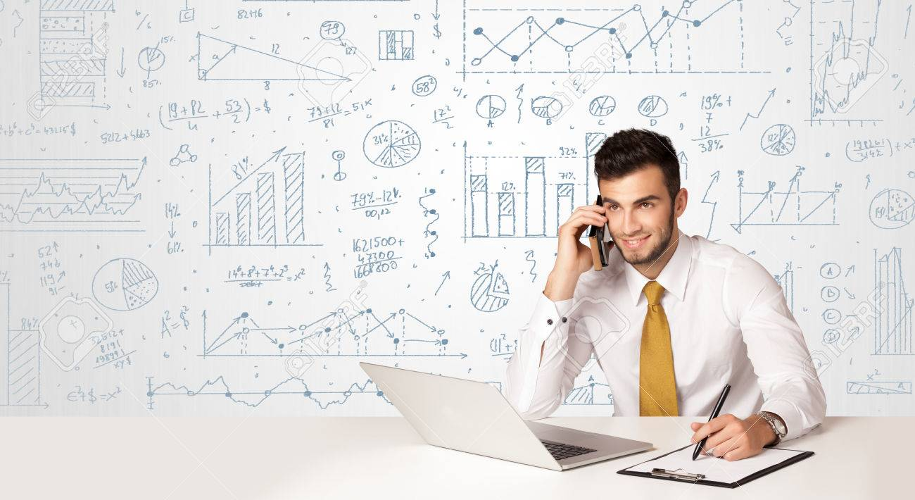 Businessman sitting at white table with hand drawn diagram background Stock Photo - 39139944