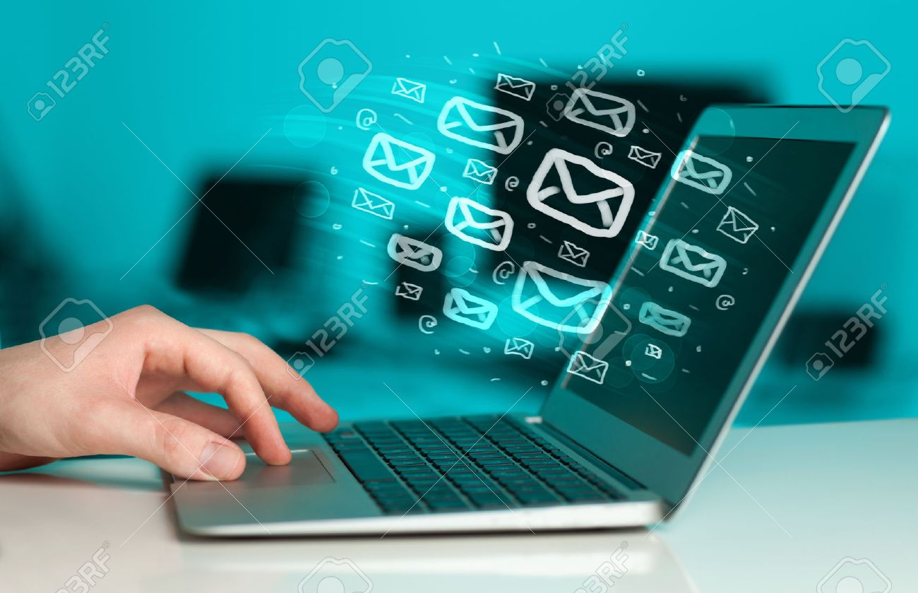 Concept of sending e-mails from your computer Stock Photo - 39219691