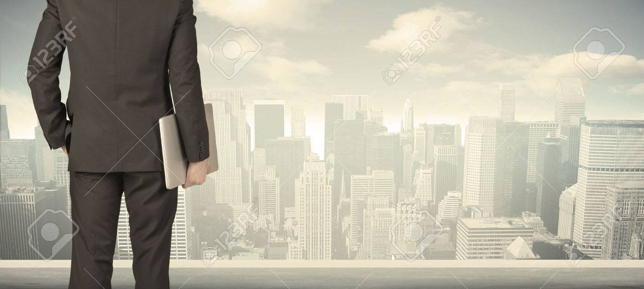 Businessman from the back in front of a city view on the window Stock Photo - 44477520