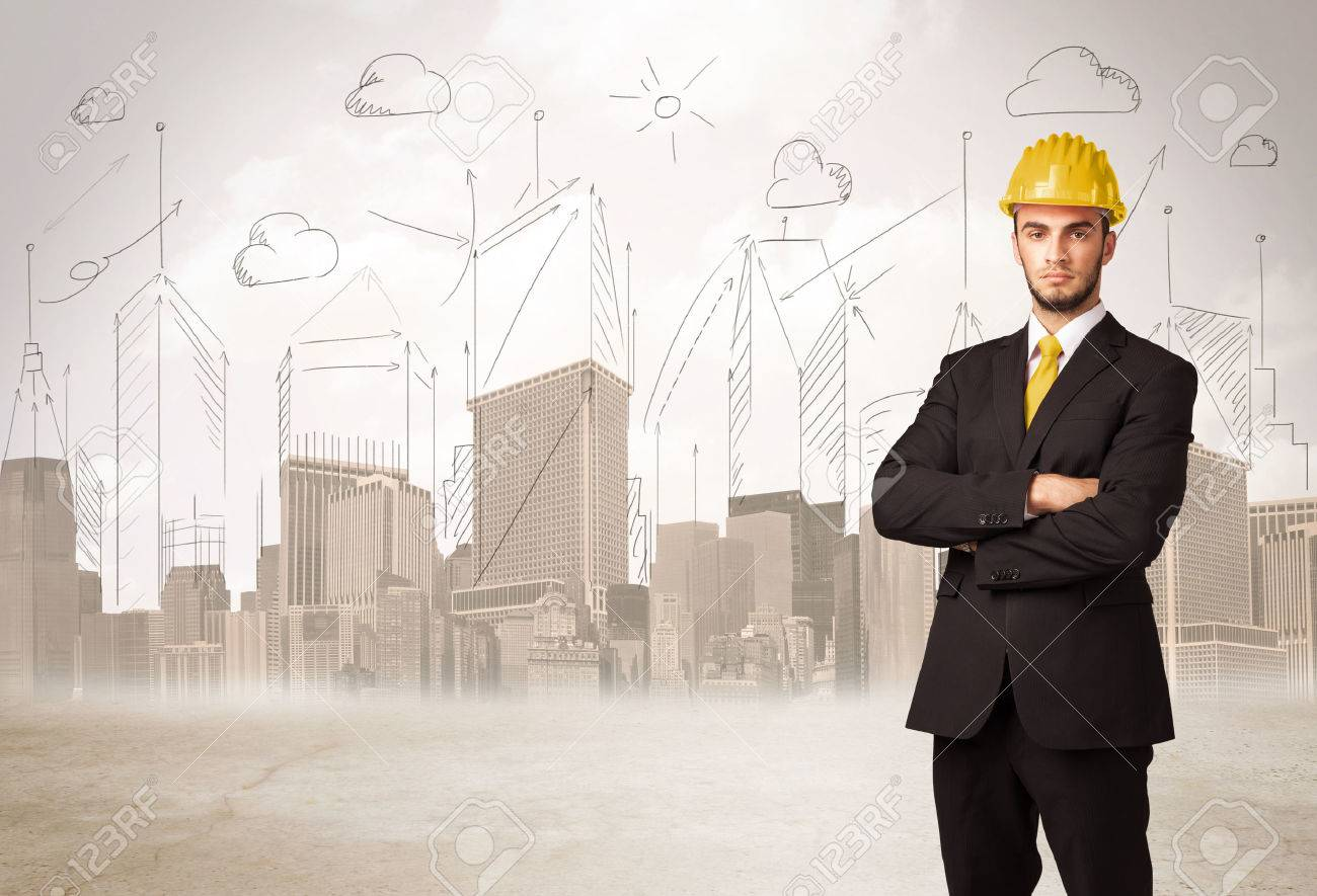 Business engineer planing at construction site with city background concept Stock Photo - 45749628