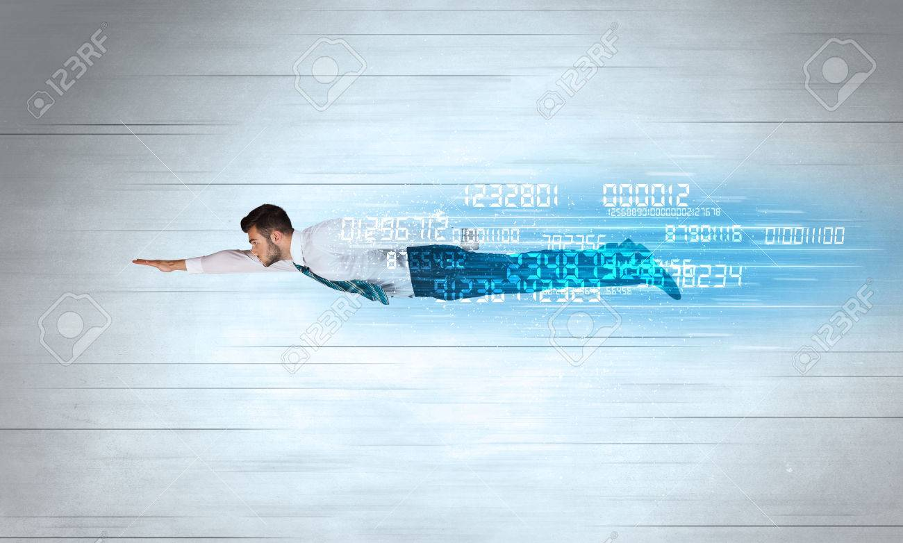 Businessman flying super fast with data numbers left behind concept Stock Photo - 46389506