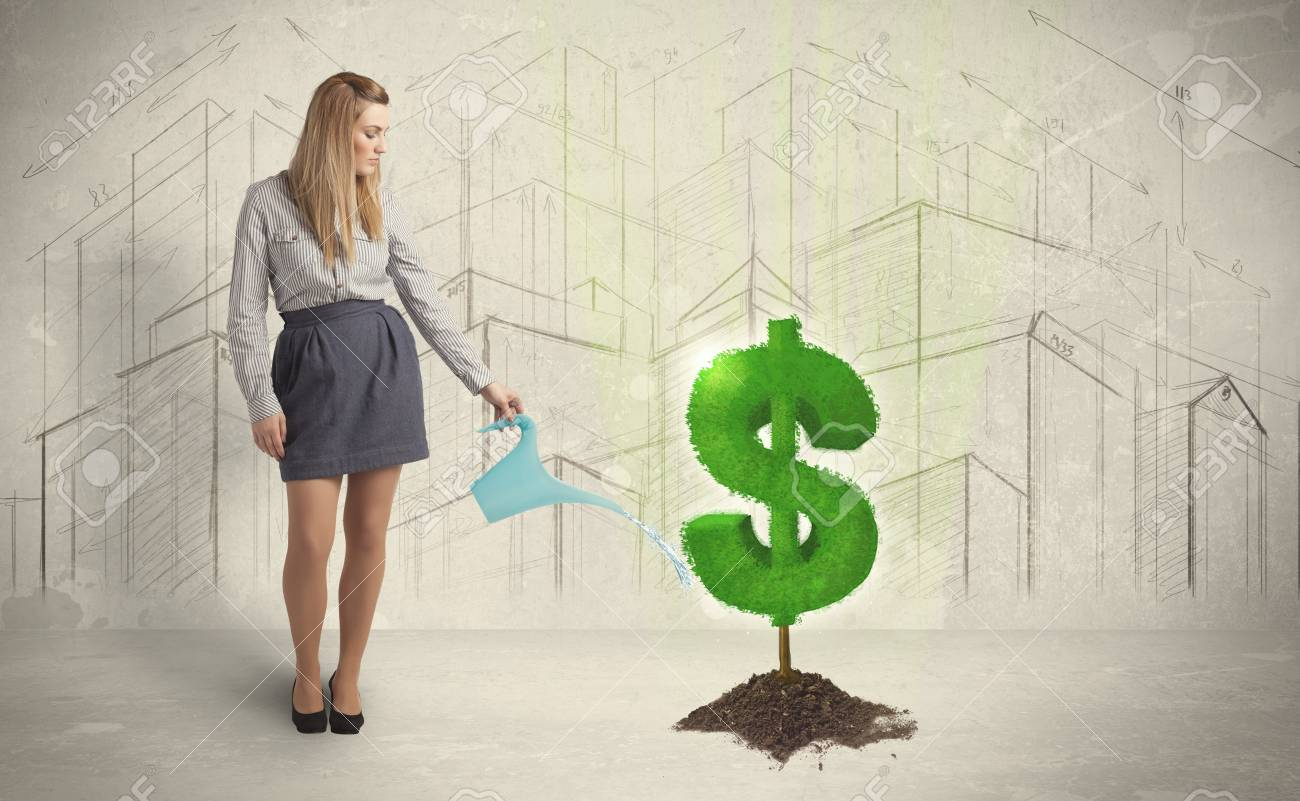 Business Woman Poring Water On Dollar Tree Sign Concept City Background Stock Photo