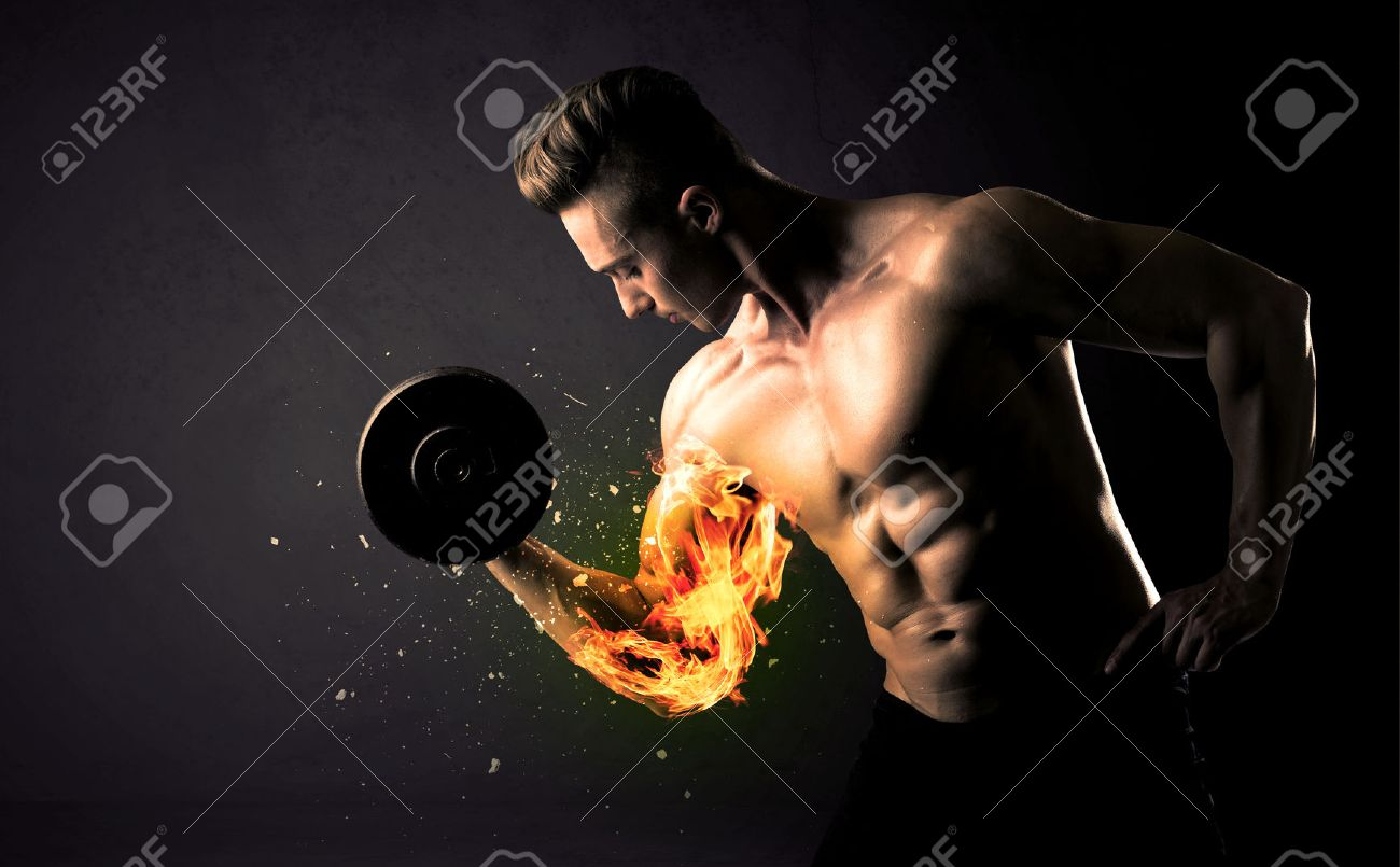 Bodybuilder athlete lifting weight with fire explode arm concept on background Stock Photo - 48982458