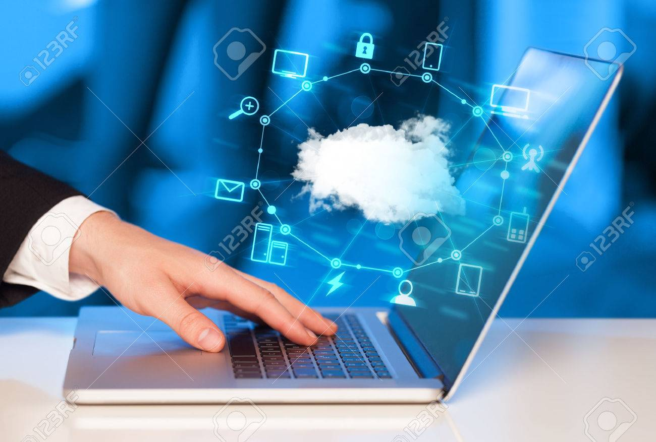 Hand working with a Cloud Computing diagram, new technology concept Stock Photo - 49618526