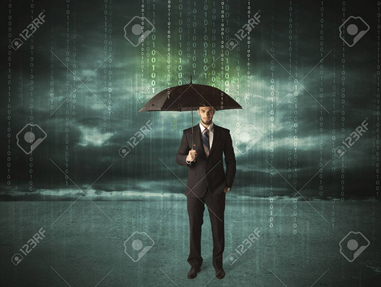 Business man standing with umbrella data protection concept on background Stock Photo - 50235112