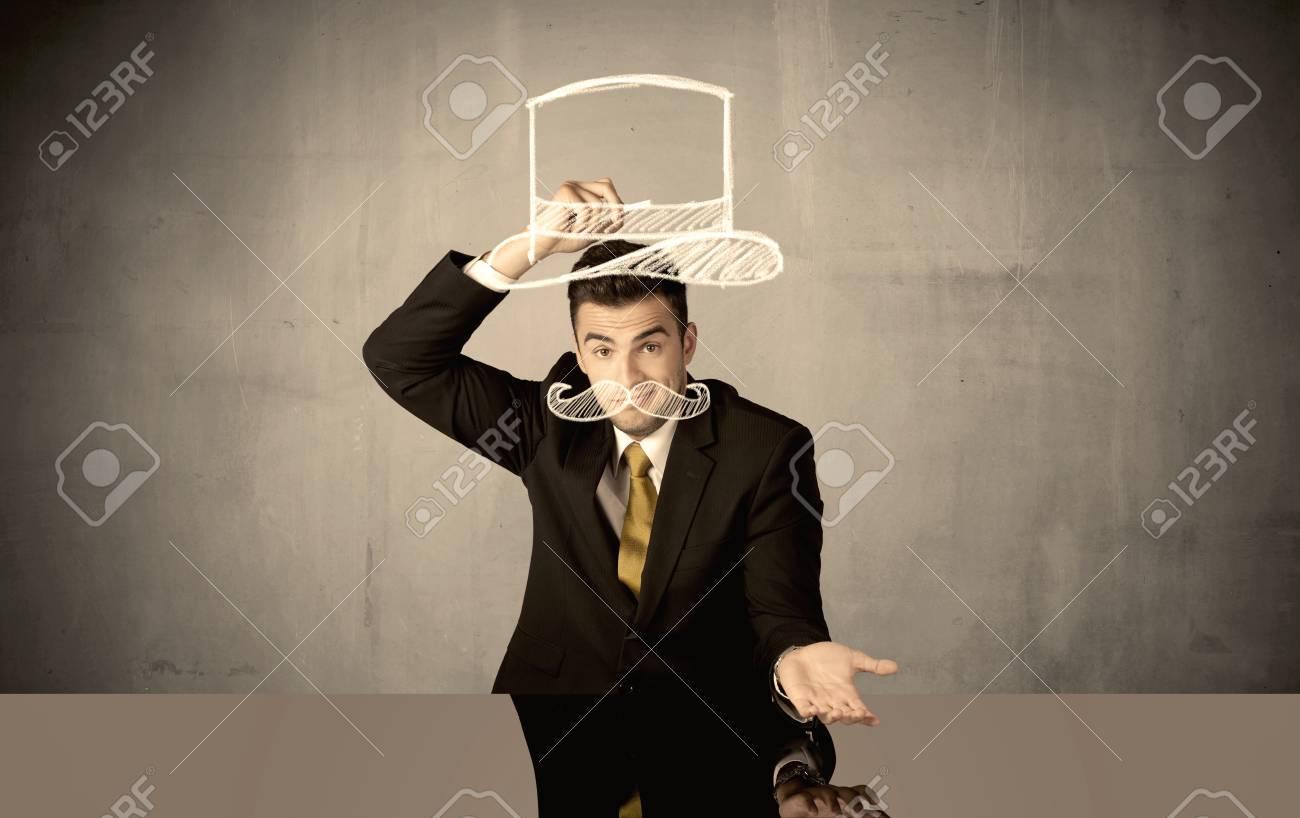 Ilustración de Gracioso Hombre De Negocios Con Sombrero