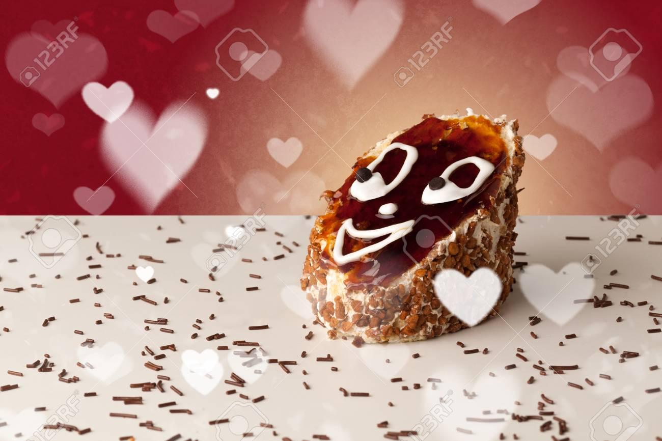 Kostliche Ziemlich Partei Kuchen Mit Herzform Symbolen Auf Buntem