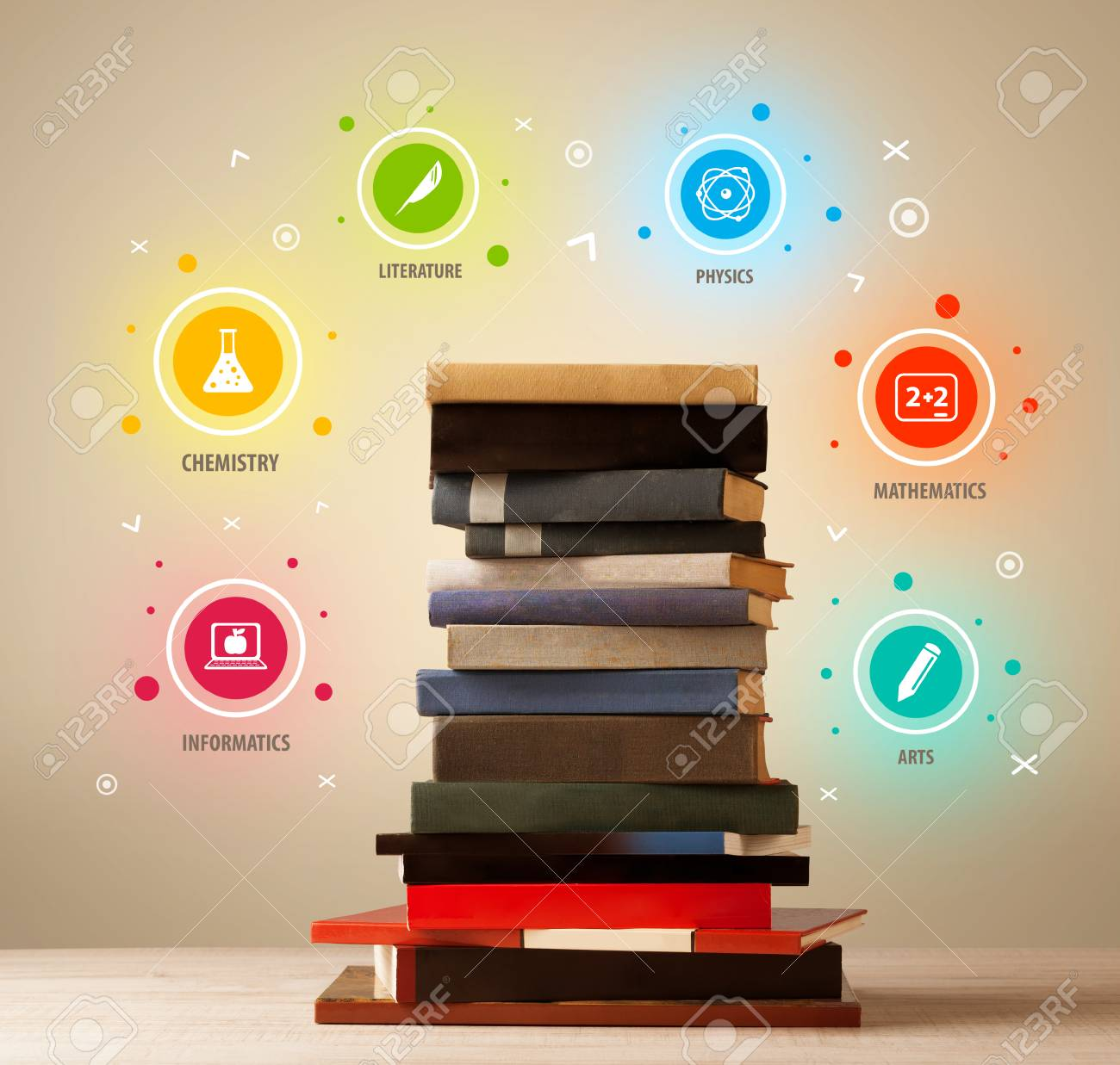 Books On Top With Colorful Symbols On Vintage Old Background Stock