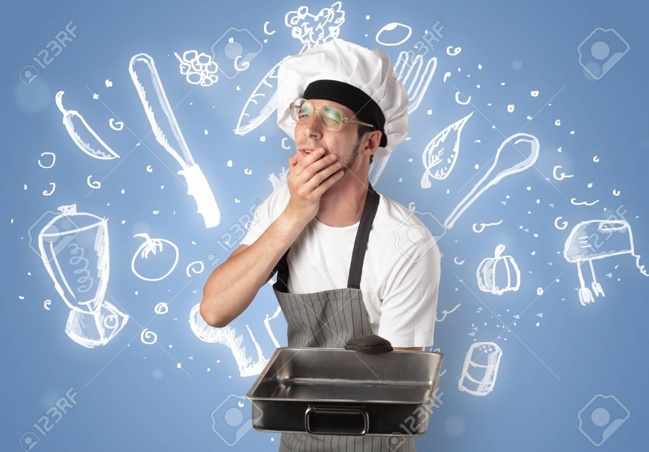 Jeune Cuisinier Avec Des Instruments De Cuisine Et Un Concept De
