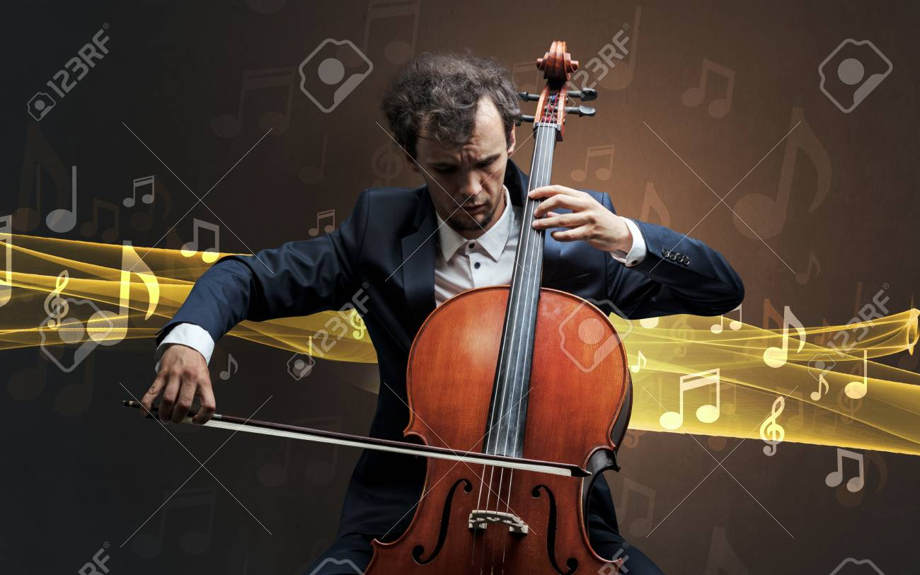Young male musician playing on his cello with musical notes around - 95036865