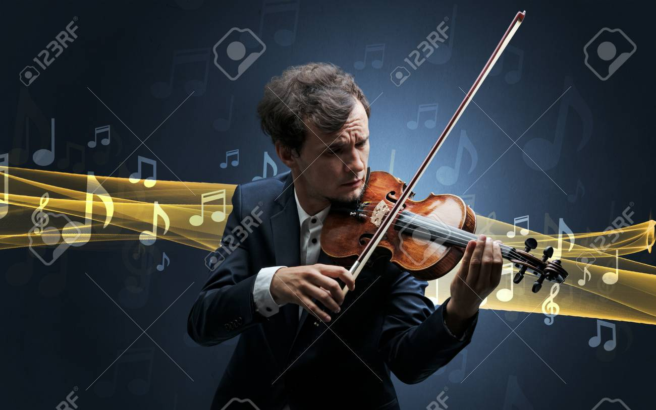 Musician playing on violin with notes around - 102311860