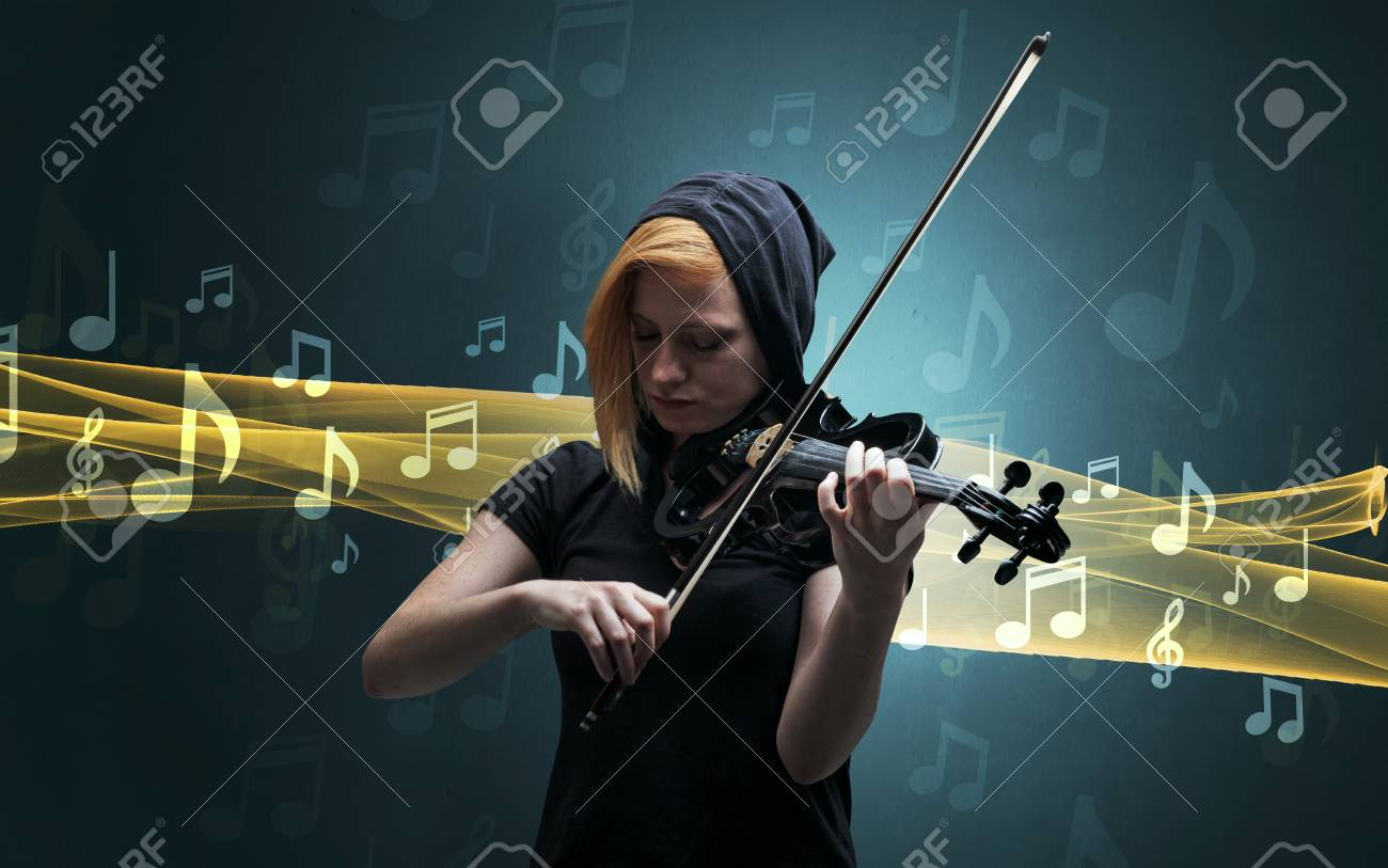 Musician playing on violin with notes around - 104211657
