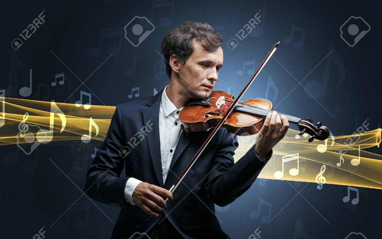 Musician playing on violin with notes around - 105034314
