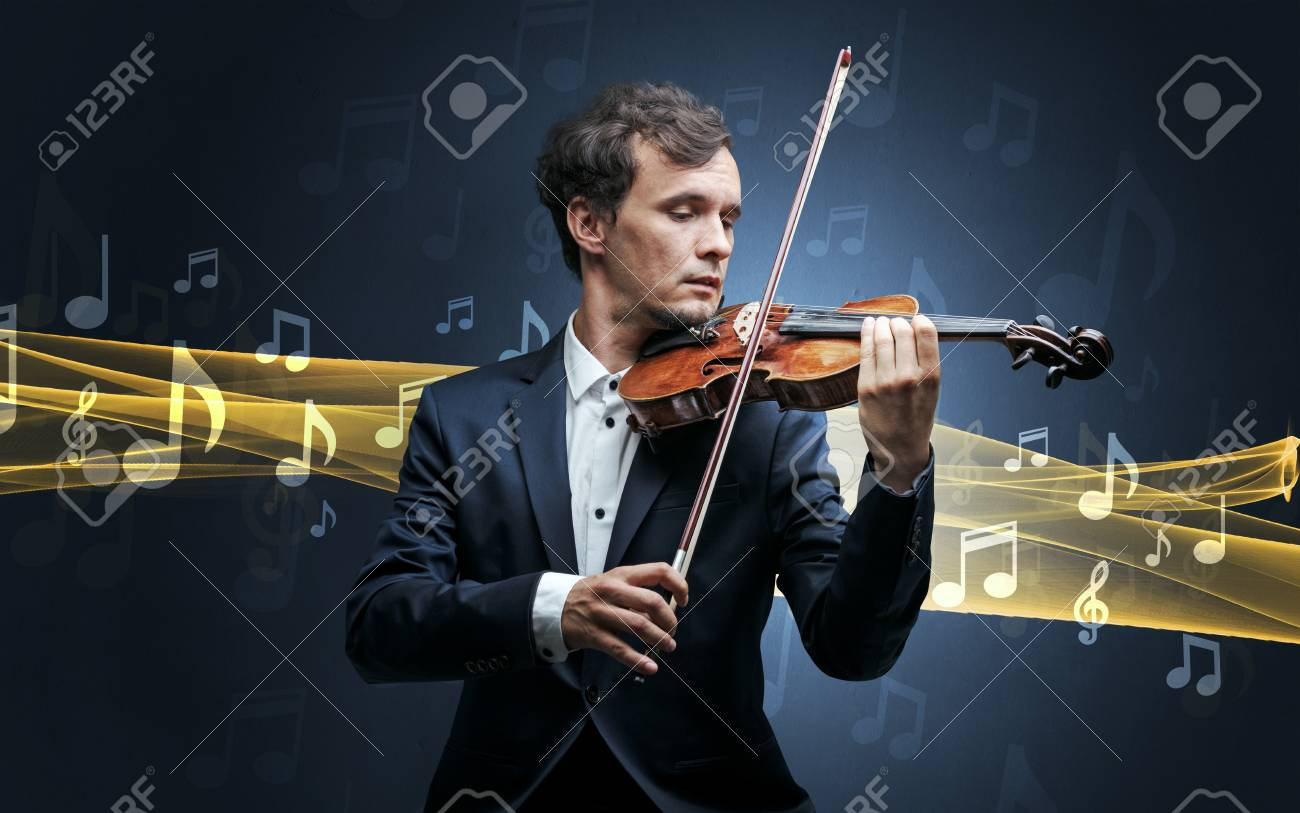 Musician playing on violin with notes around - 109028230