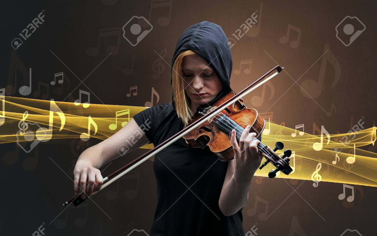 Musician playing on violin with notes around - 109308749