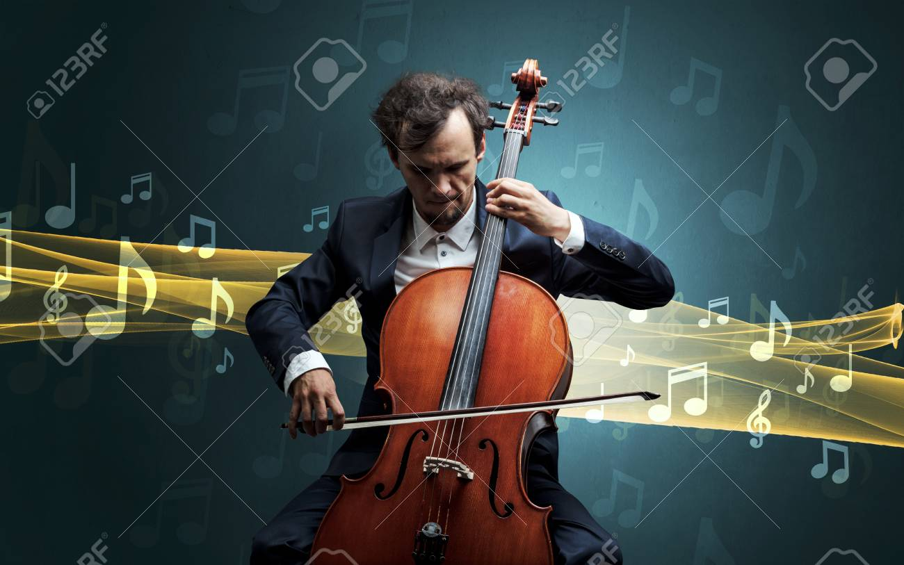 Musician playing on cello with notes around - 109825783
