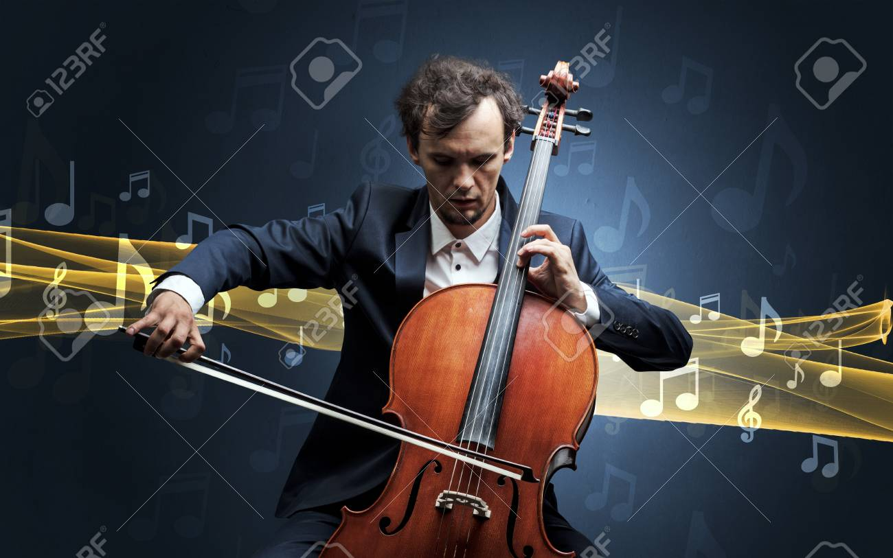 Musician playing on cello with notes around - 113231645