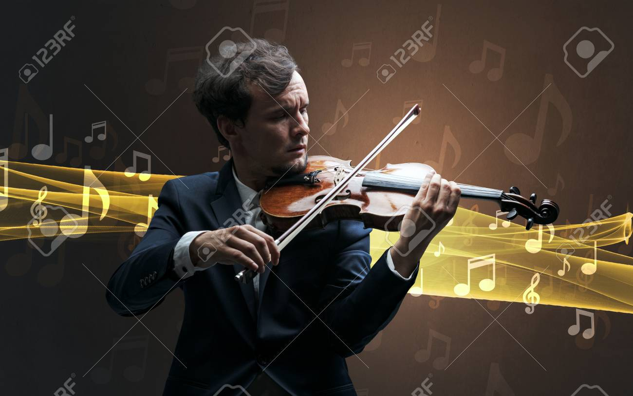 Musician playing on violin with notes around - 114726725