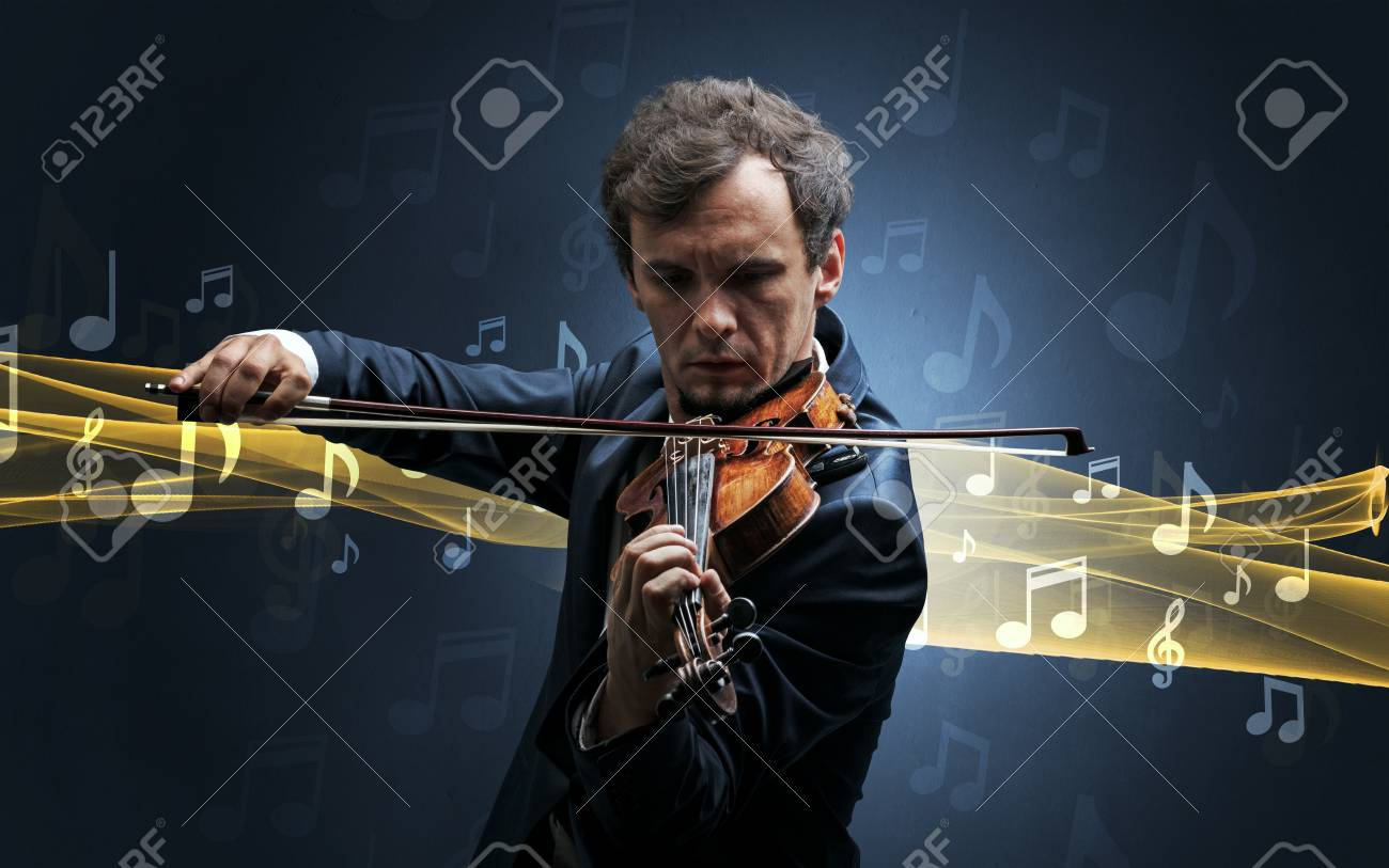 Musician playing on violin with notes around - 117364965