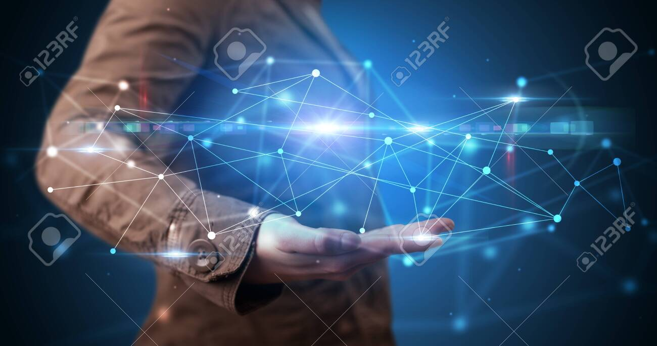 Handsome person holding hologram screen displaying modern cloud based web system technology - 123350223