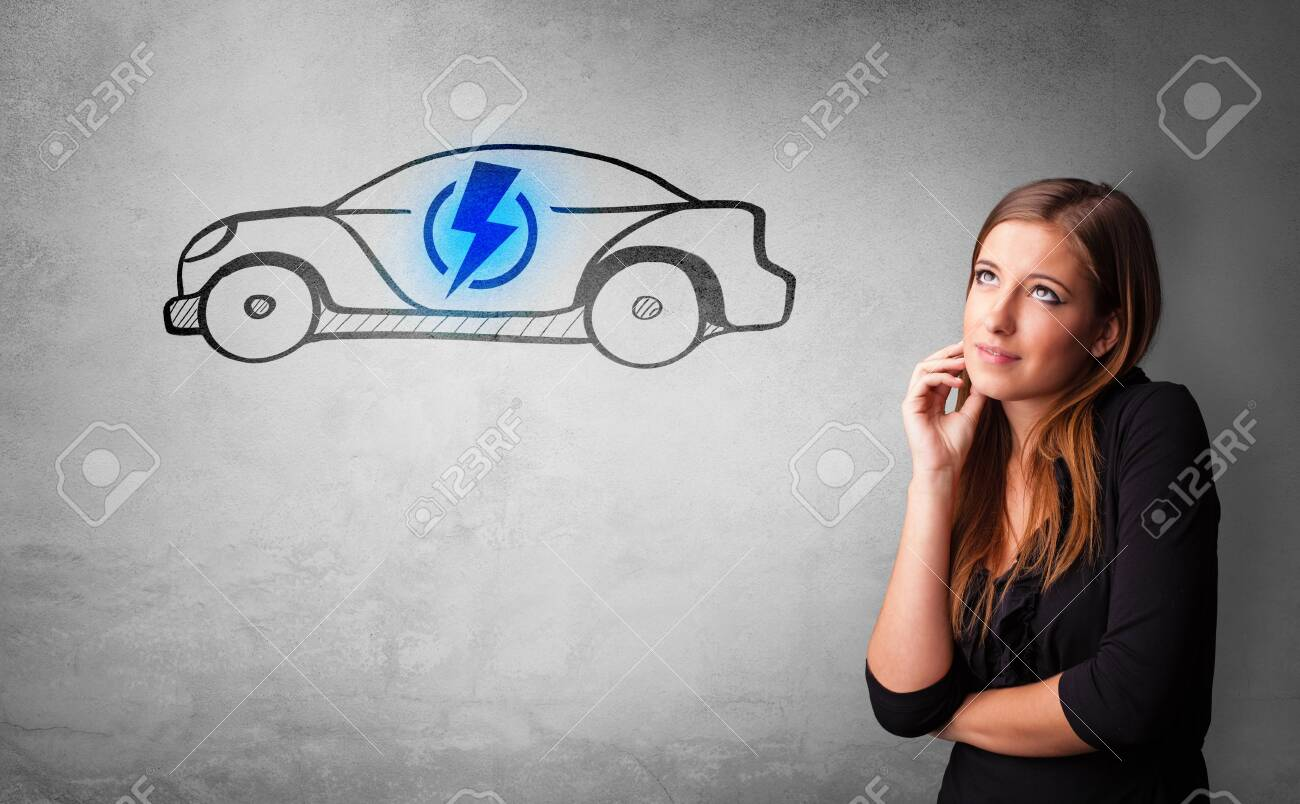 Formal person thinking about electric car concept - 124453963