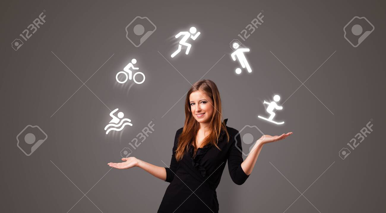 Young student juggle with sports concept - 126405453