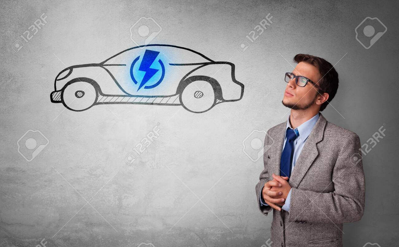 Formal person thinking about electric car concept - 126405458