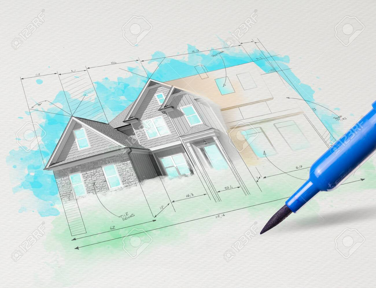 Drawing colored house plan concept - 137050984