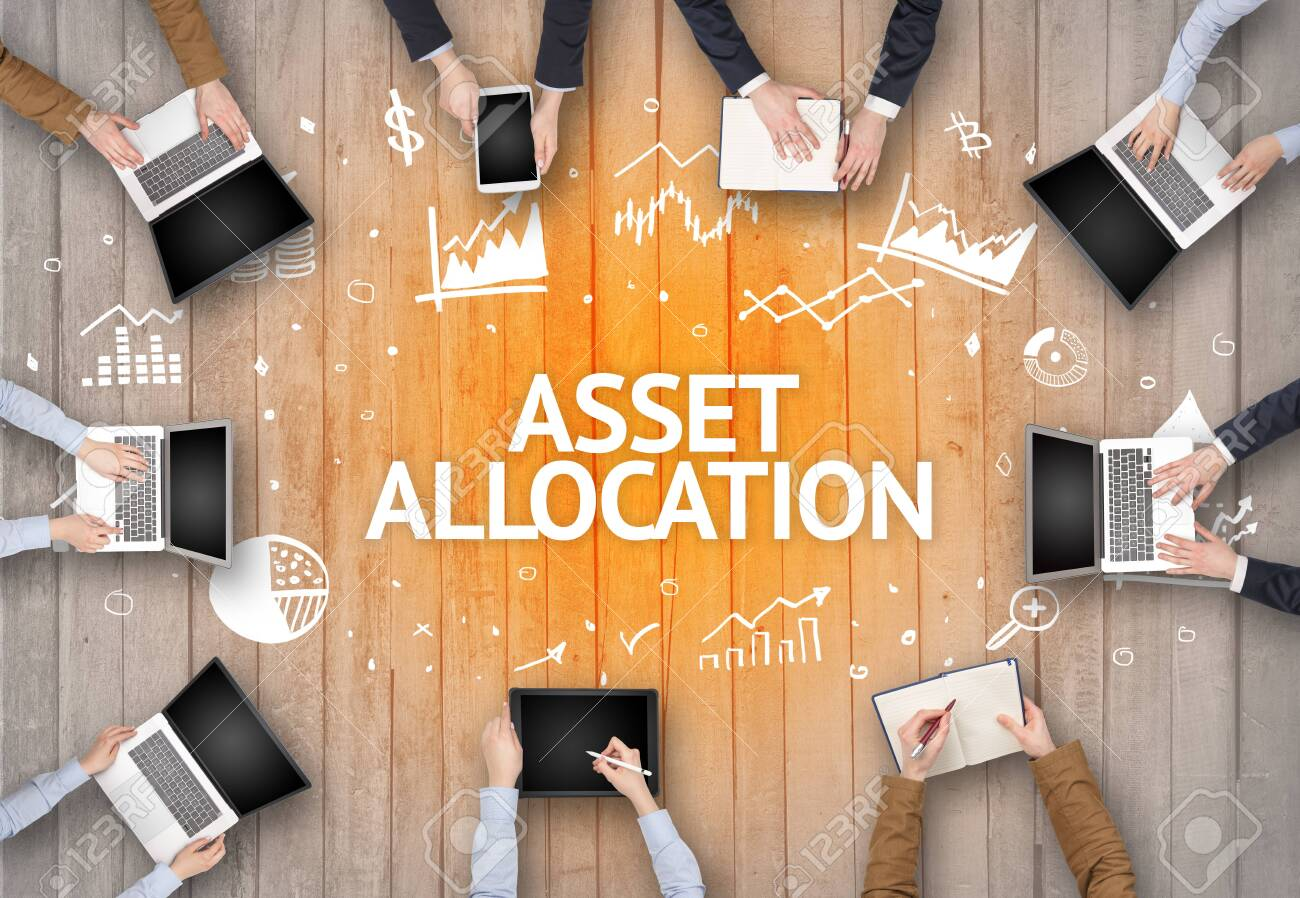 Group of Busy People Working in an Office with ASSET ALLOCATION inscription, succesfull business concept - 147445113