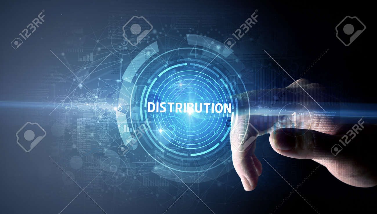 Hand touching DISTRIBUTION button, modern business technology concept - 157273899