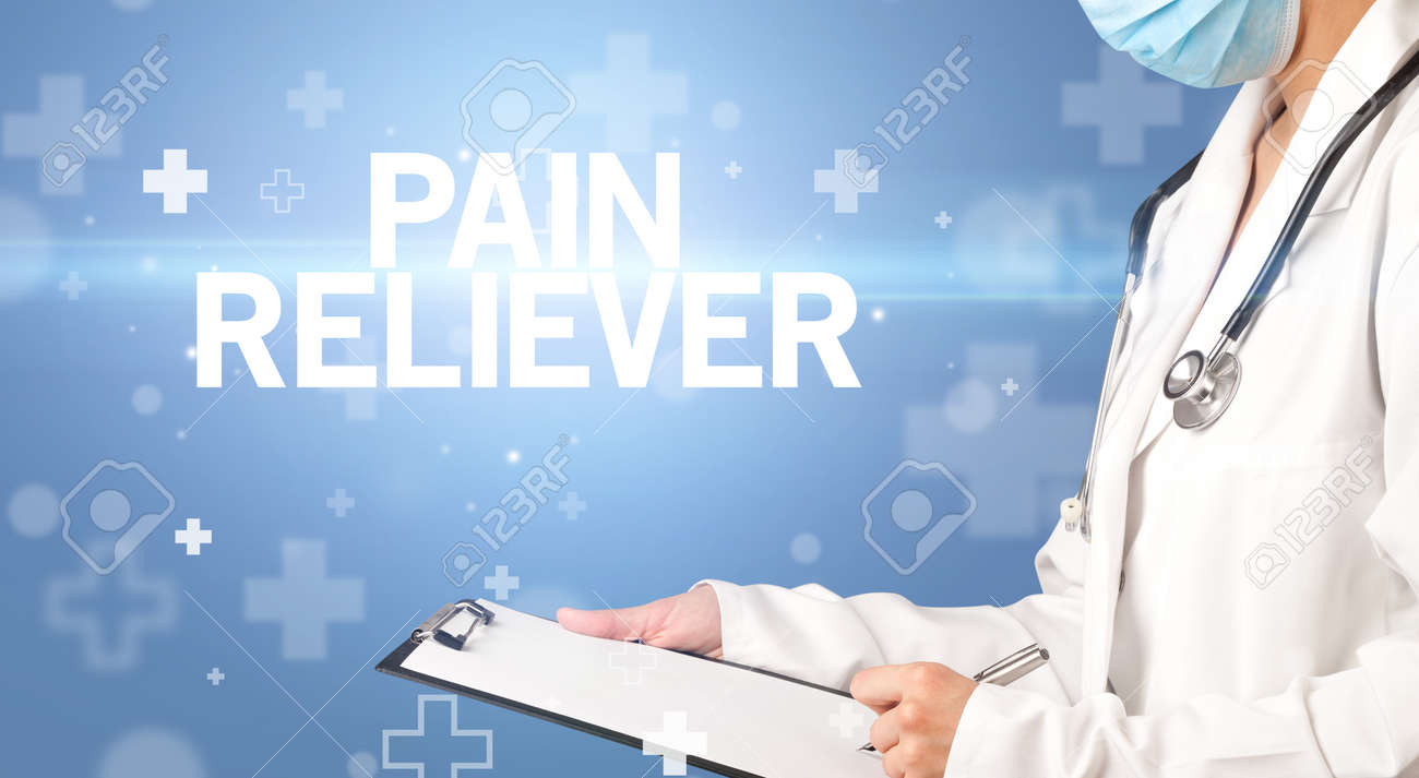doctor writes notes on the clipboard with PAIN RELIEVER inscription, first aid concept - 164239717
