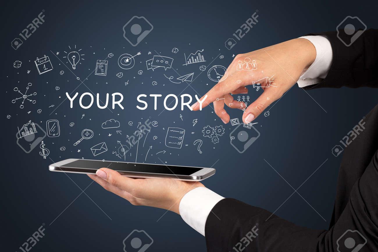 Close-up of a touchscreen, social media concept - 172476731