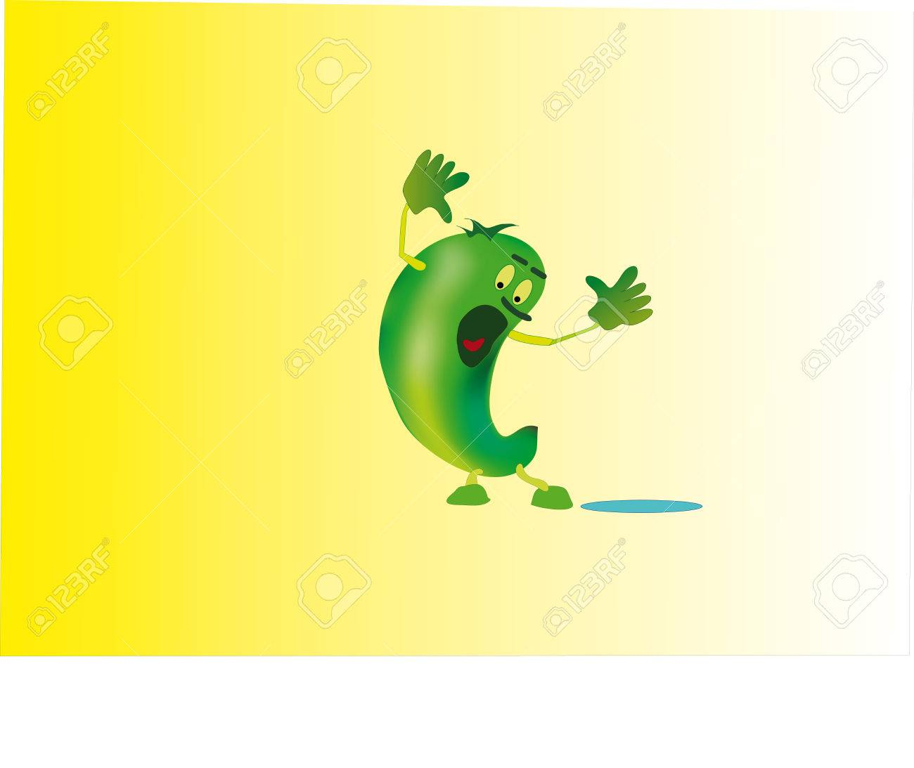 The small green little man very similar to a cucumber, is indignant. Stock Vector - 4117918