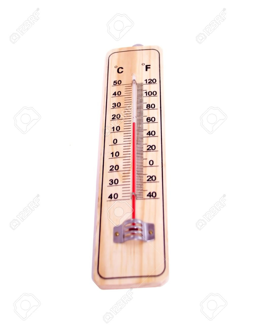 the thermometer with a scale of celsius and fahrenheit the isolated