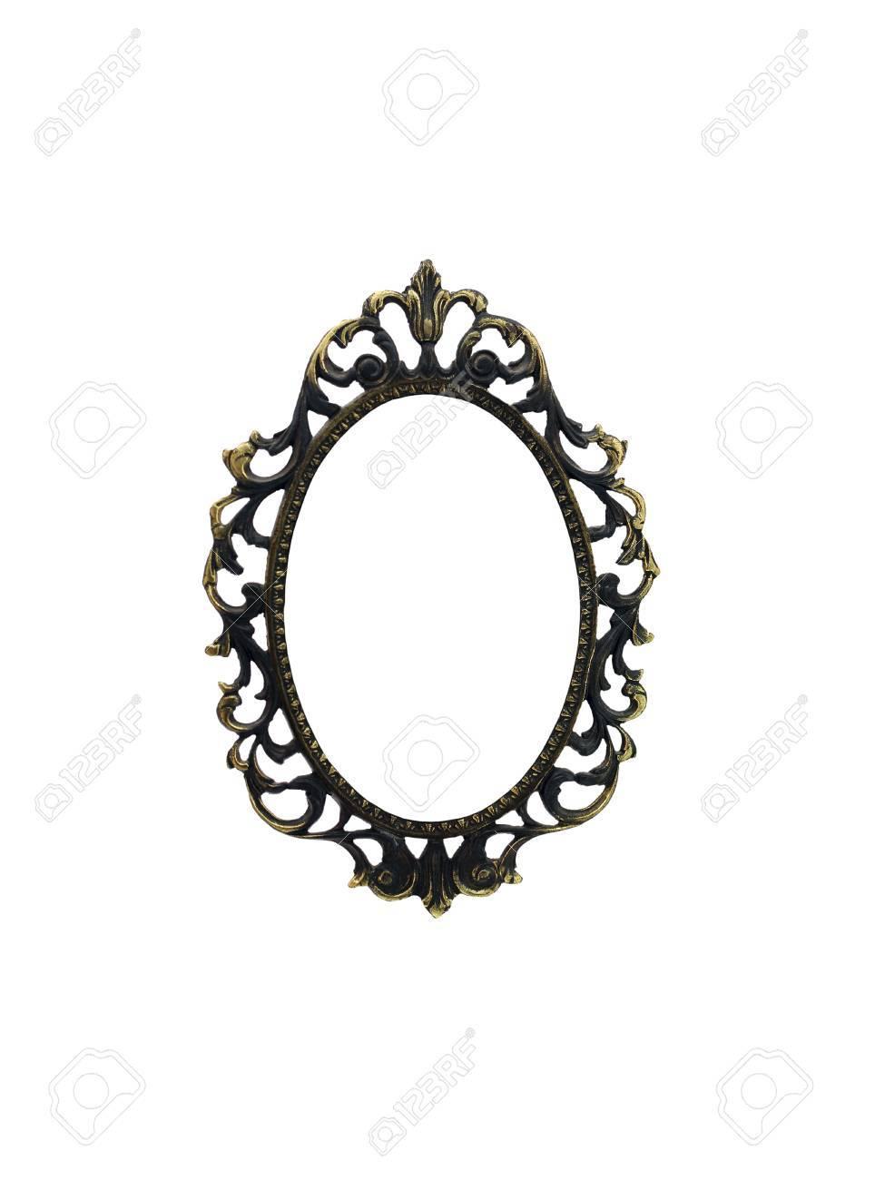 Ovaler Rahmen Aus Metall Bronze Farbe. Die Isolierten Objekt. Einem ...