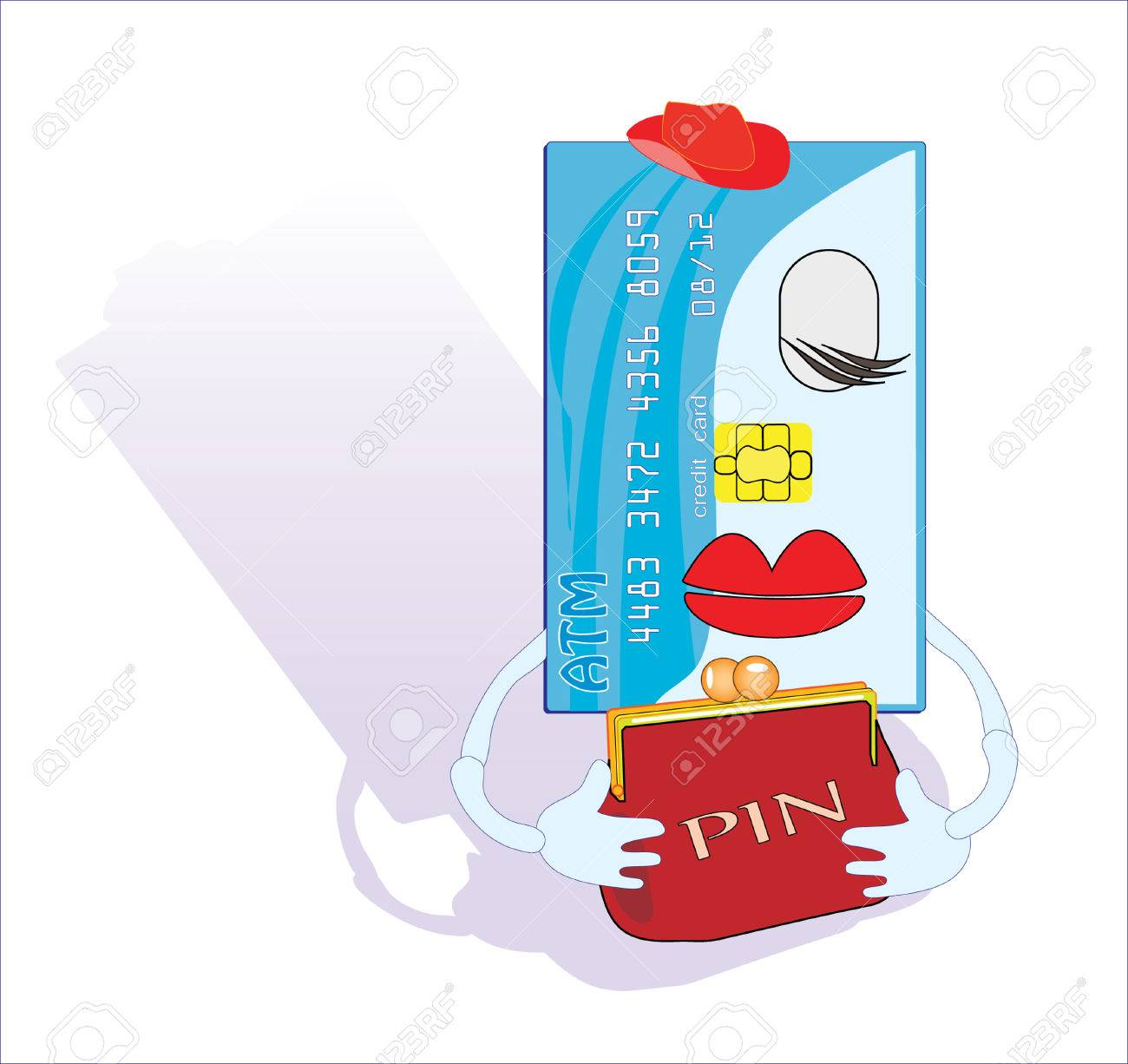 Credit card with a PIN code in a purse. Vector illustration Stock Vector - 5240374