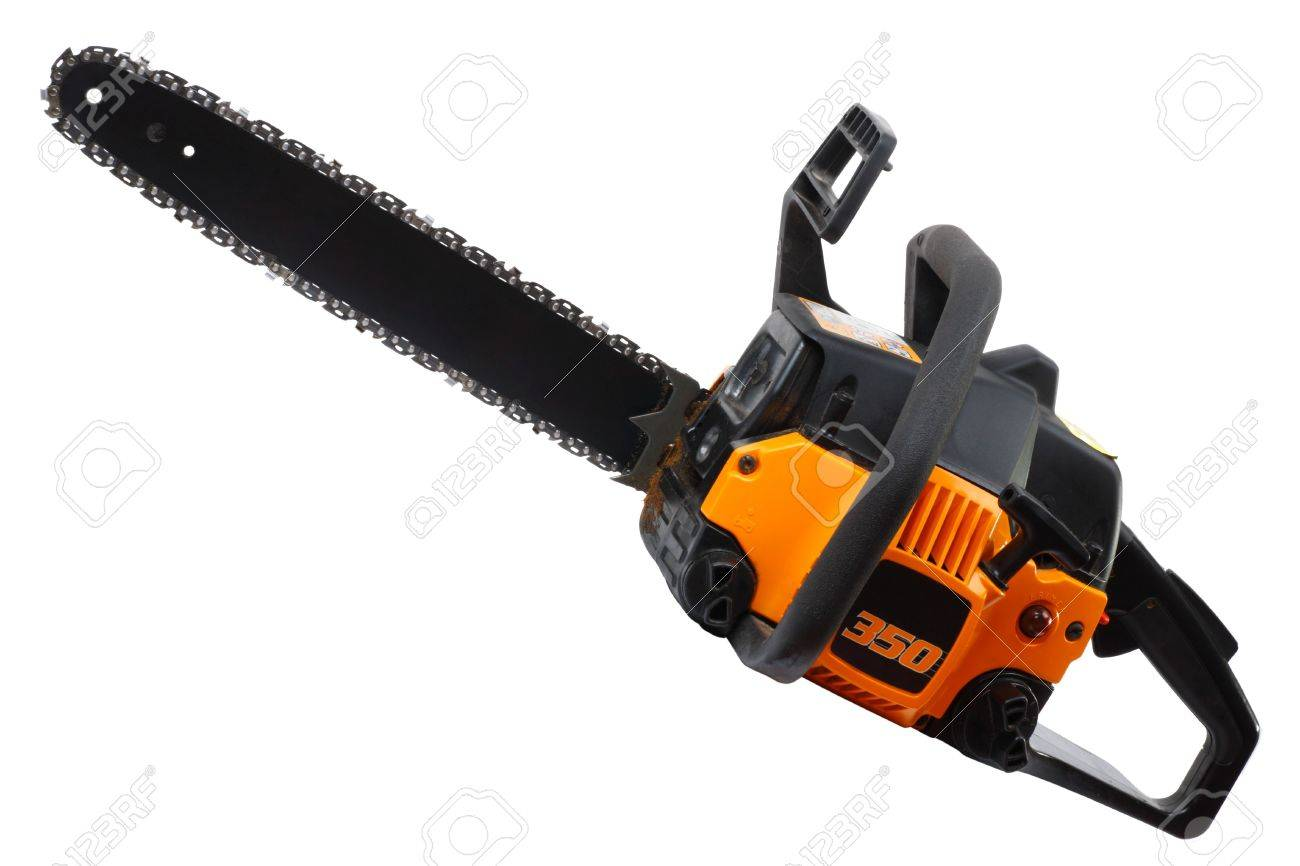 Yellow Chainsaw isolated on white background. Stock Photo - 7049850