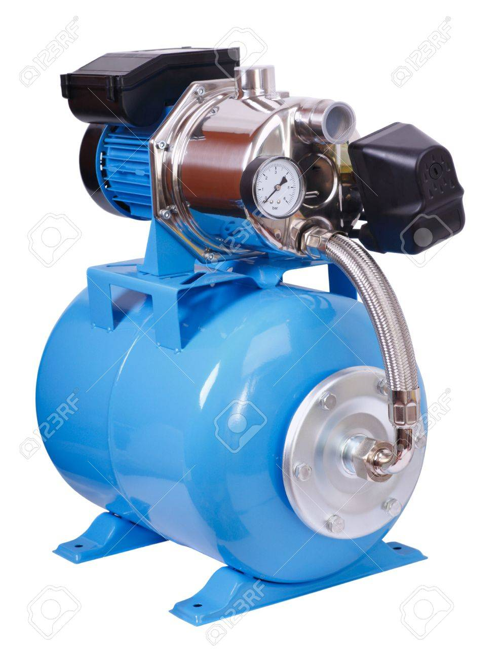 Individual pump station for the home. Electric high pressure pump - isolated on white. Stock Photo - 7320618