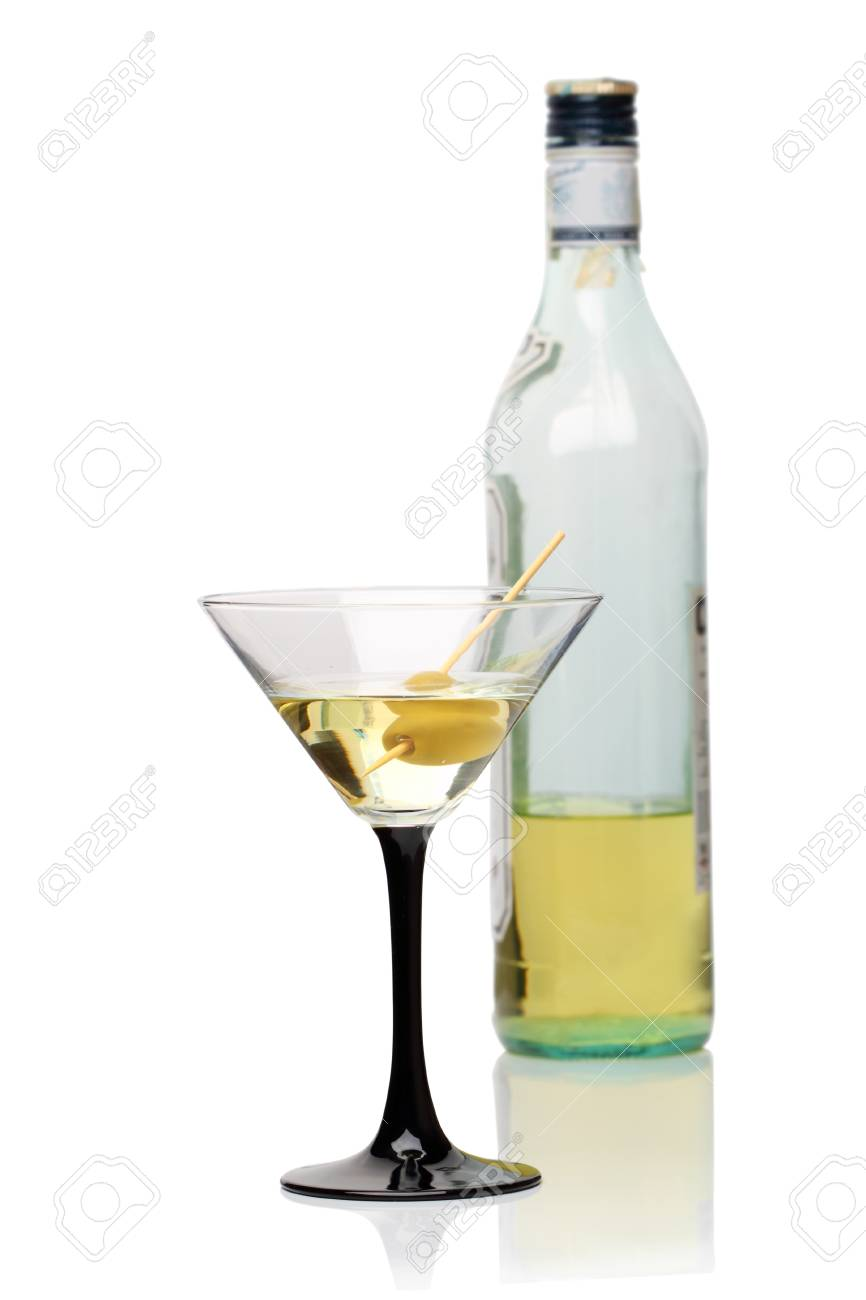 Martini cocktail in a martini glass and bottle isolated on a white background Stock Photo - 9866258