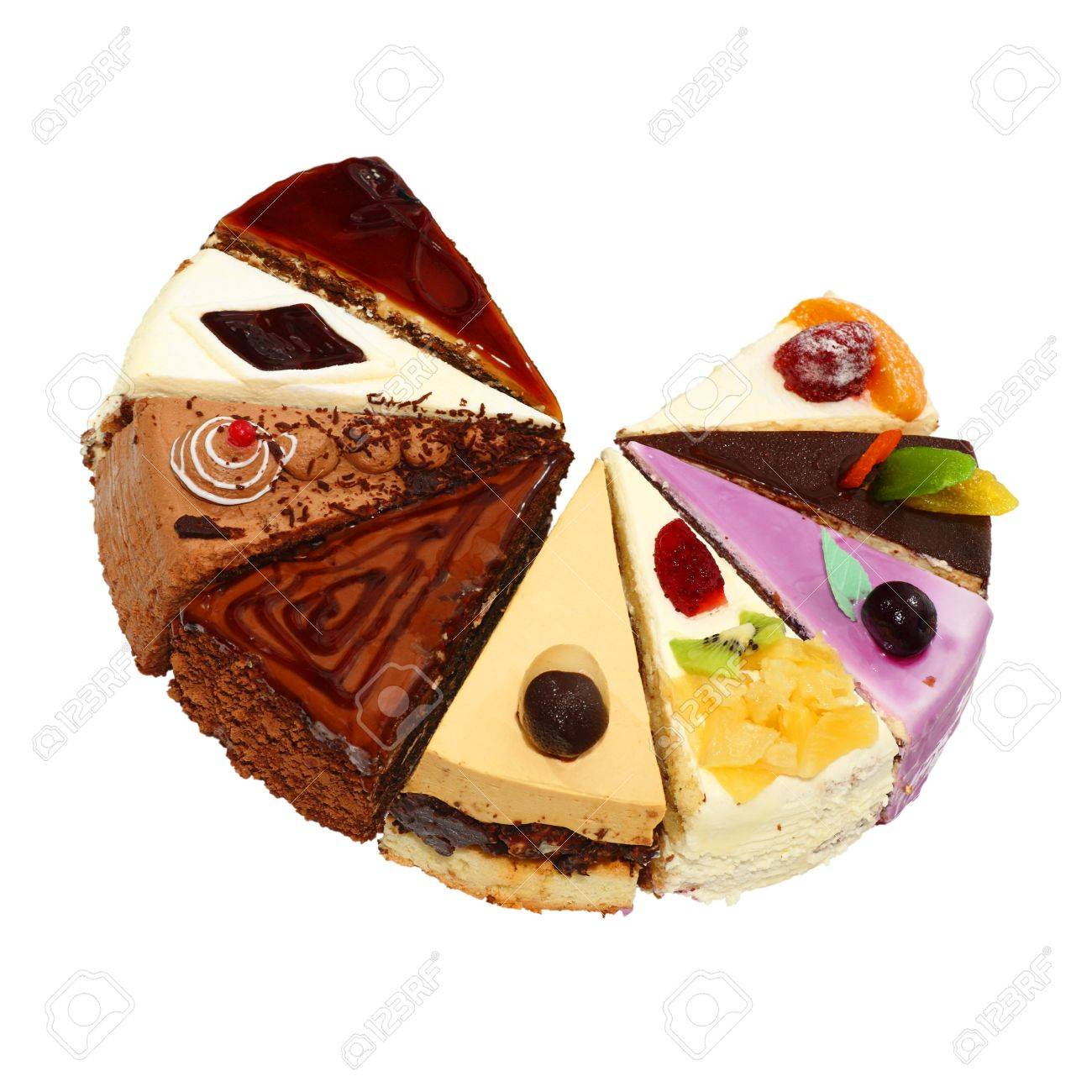 Nine different pieces of cake. Isolated on white background. Stock Photo - 10064716
