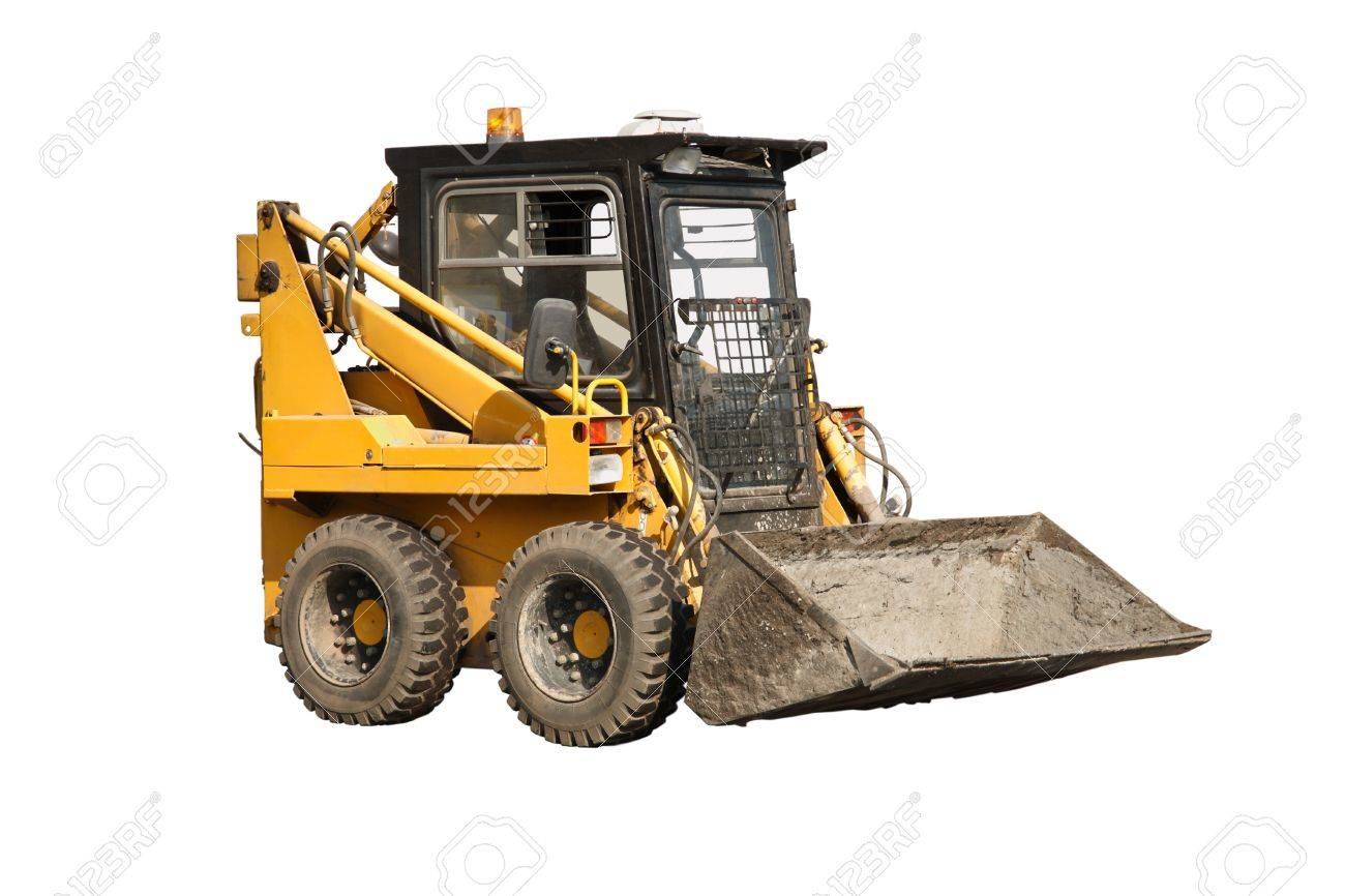Real small loader on asphalt. White background Stock Photo - 10064758