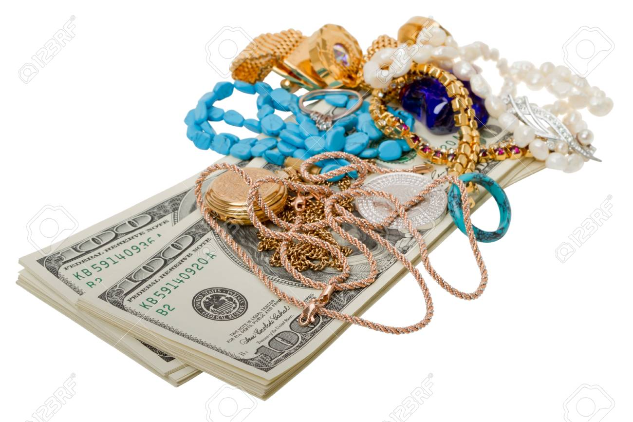 Dollars and jewelry. Isolated on white background Stock Photo - 11602802